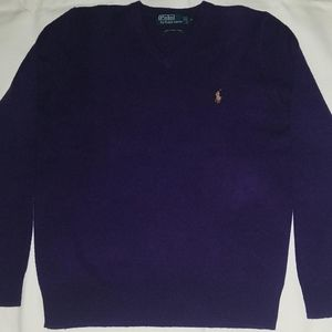 Vtg Polo Purple Lambswool Sweater